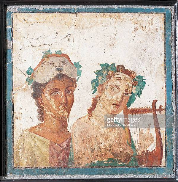'Couple with Masks by unknown artist 4579 1st Century AD ripped fresco 46 x 46 cm Italy Campania Naples National Archaeological Museum Room LXVIII...
