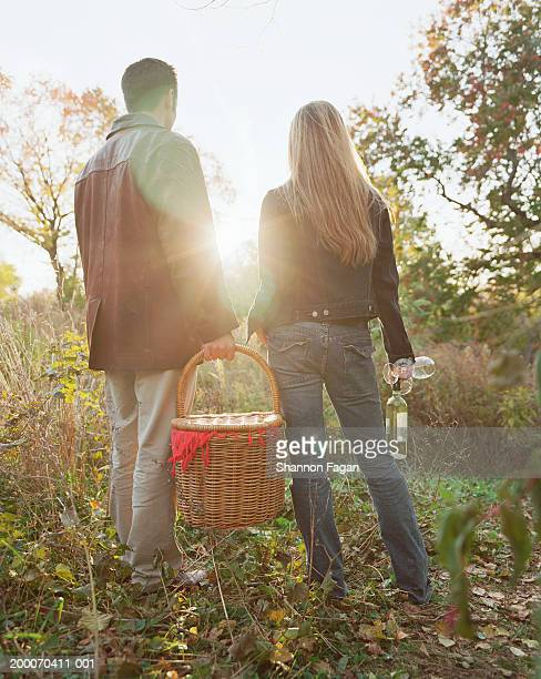 Couple with picnic basket and wine in park, rear view