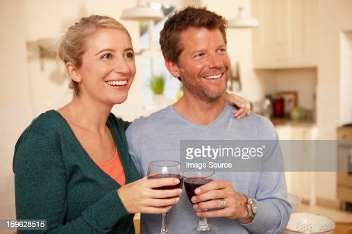 Couple with red wine : Stock Photo