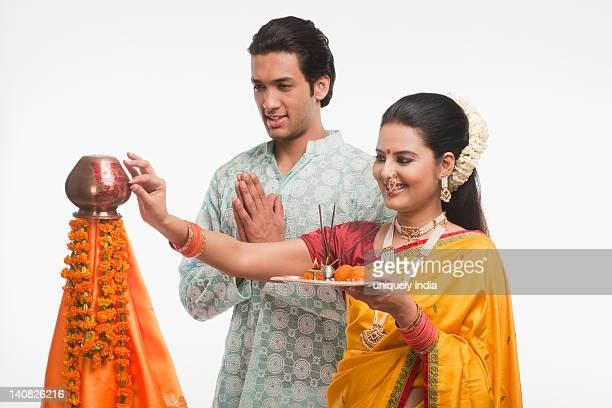 Couple with religious offerings on Gudi Padwa festival
