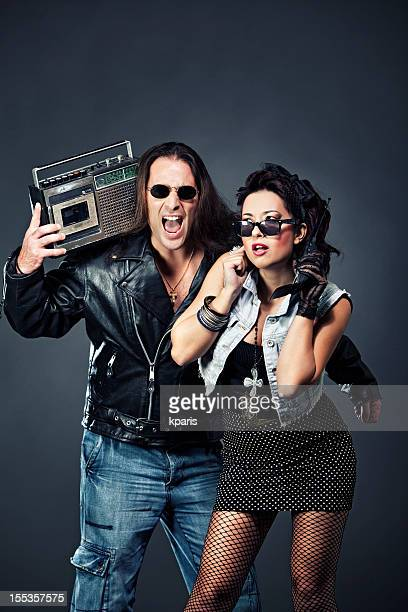 Couple with retro gadgets