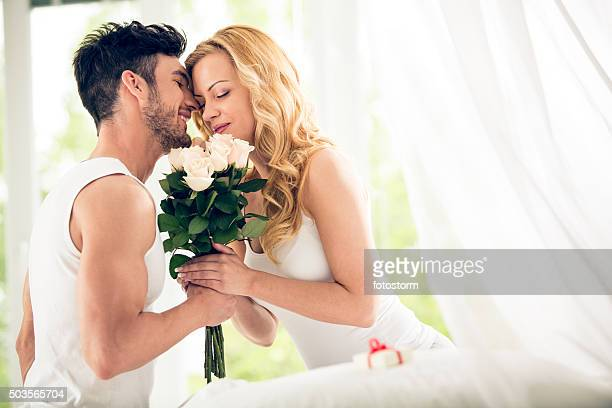 Couple with roses bouquet