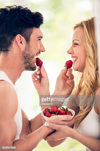 Couple with strawberries