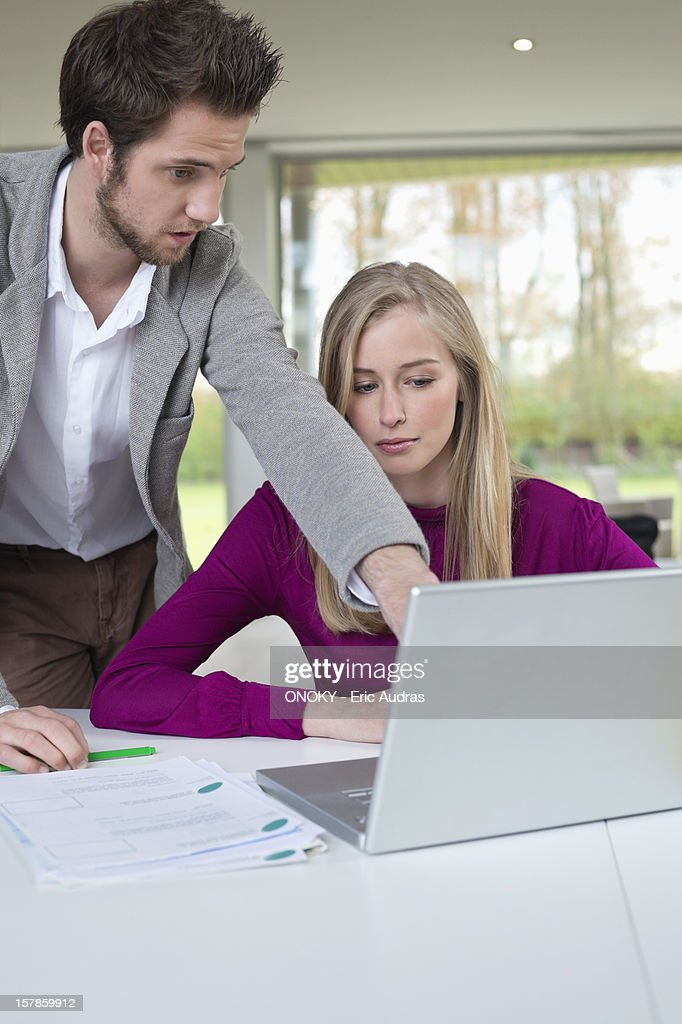 Couple working in home office : Stock Photo