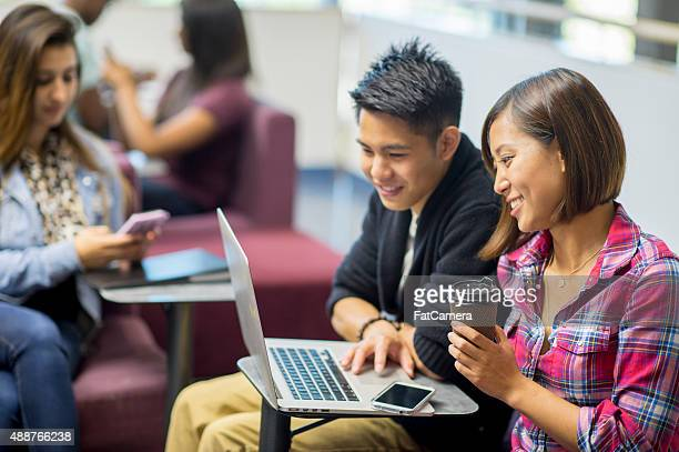 Couple Working on Homework Assignment