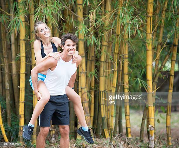 Couple working out together, Piggy-Back, Outdoor Fitness
