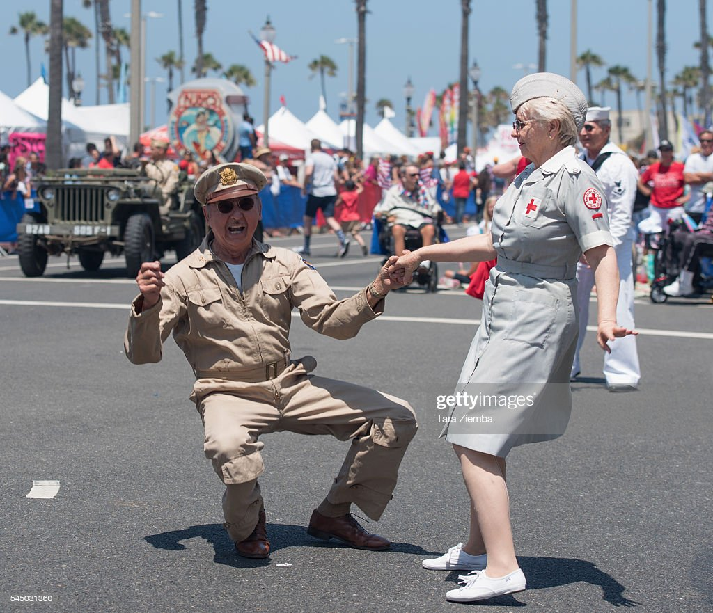 Huntington beach california stock photos and pictures getty images - Couples Dance In The Street At The 112th Annual Huntington Beach 4th Of July Parade On