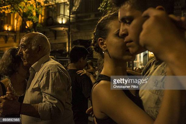 Couples dance Tango on the streets of Bs As.