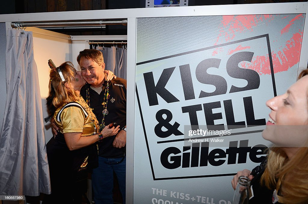 Couples participate in Gillette's Kiss & Tell Live National Experiment and get the sparks flying by asking women which kiss is best: a kiss with a stubble or smooth shaven skin on February 2, 2013 in New Orleans, Louisiana.