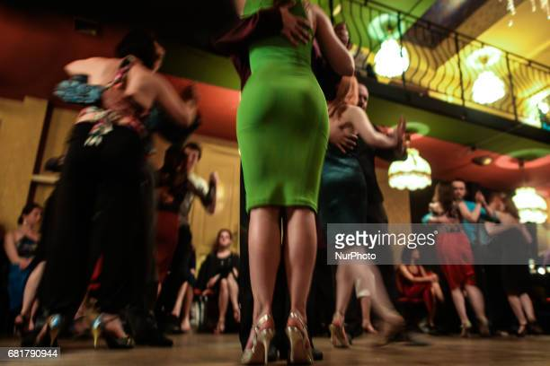 Couples perfom Argentine tango during an afterparty event in Klub Cabaret an event that was a part of Krakus Aires Tango Festival 2017 a...
