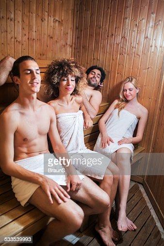 Sauna Details In 2019: Couples Relaxing In Sauna Stock Photo