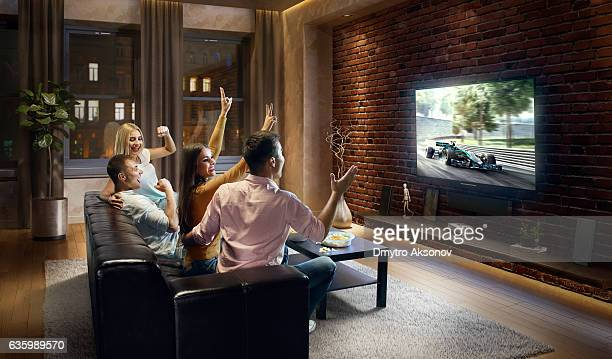 Couples watching Car sprint at home