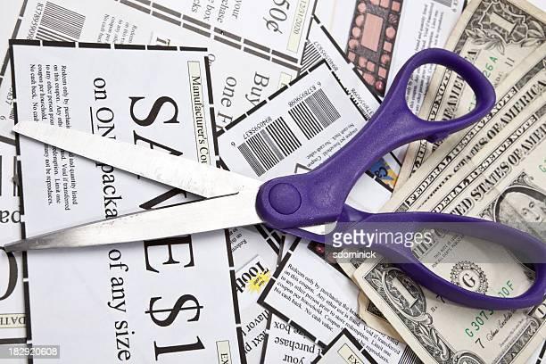 Cupões Tesoura e dinheiro