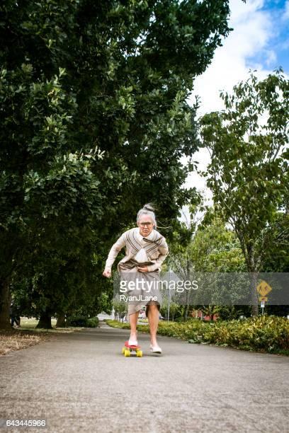 Courageous Grandma Skateboarding