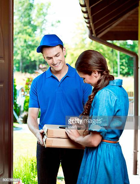 Courier delivering packages