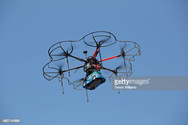 A courier drone capable of carrying and deliverying heavy loads at the Henna Hotel in Huis Ten Bosch Netherlands themed amusement park on July 15...
