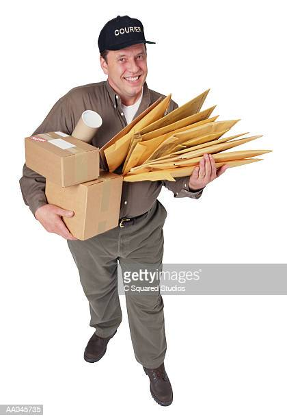 Courier with Parcels and Envelopes