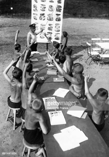 Cours de botanique en plein air donné à une classe de garçons tous torses nus en Allemagne