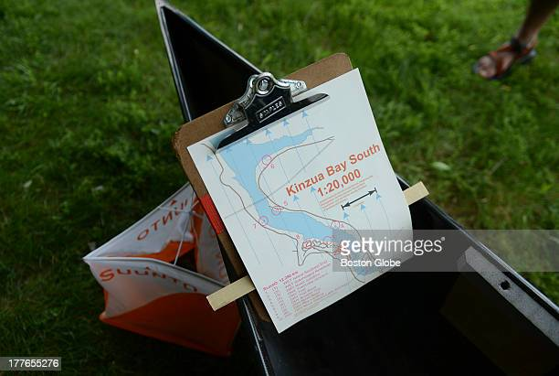 Course map from 2009 Nationals in Warren Pa is on display on the shores of Lake Gardner in Amesbury Lake Gardner is hosting a canoe orienteering...