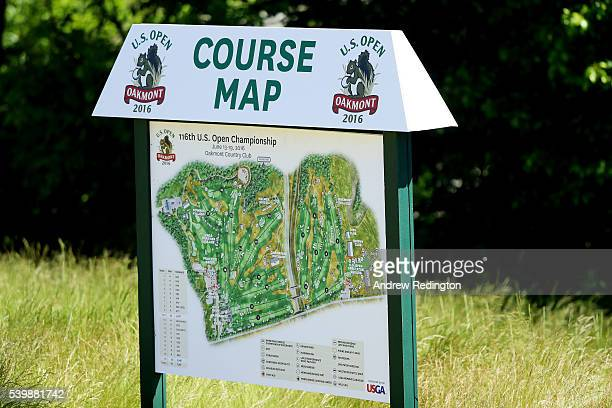 A course map is seen during a practice round prior to the US Open at Oakmont Country Club on June 13 2016 in Oakmont Pennsylvania