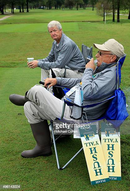 Course marshals wait for the start of play during a continuation of the second round of the Sanderson Farms Championship at The Country Club of...