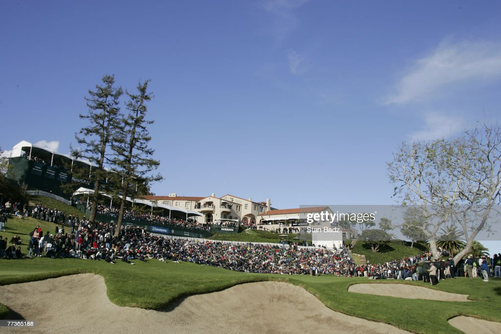 Course scenic of the 18th green during the fourth and final round of the Nissan Open held at Riviera Country Club in Pacific Palisades California on...