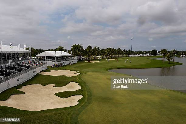 A course scenic of the 18th hole green during the third round of the World Golf ChampionshipsCadillac Championship at Blue Monster Trump National...