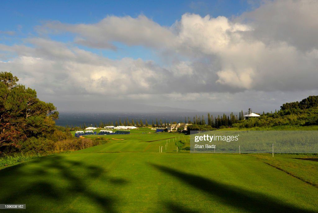 A course scenic shot of the 18th hole before the replay of the first round of the Hyundai Tournament of Champions at Plantation Course at Kapalua on January 5, 2013 in Kapalua, Maui, Hawaii.