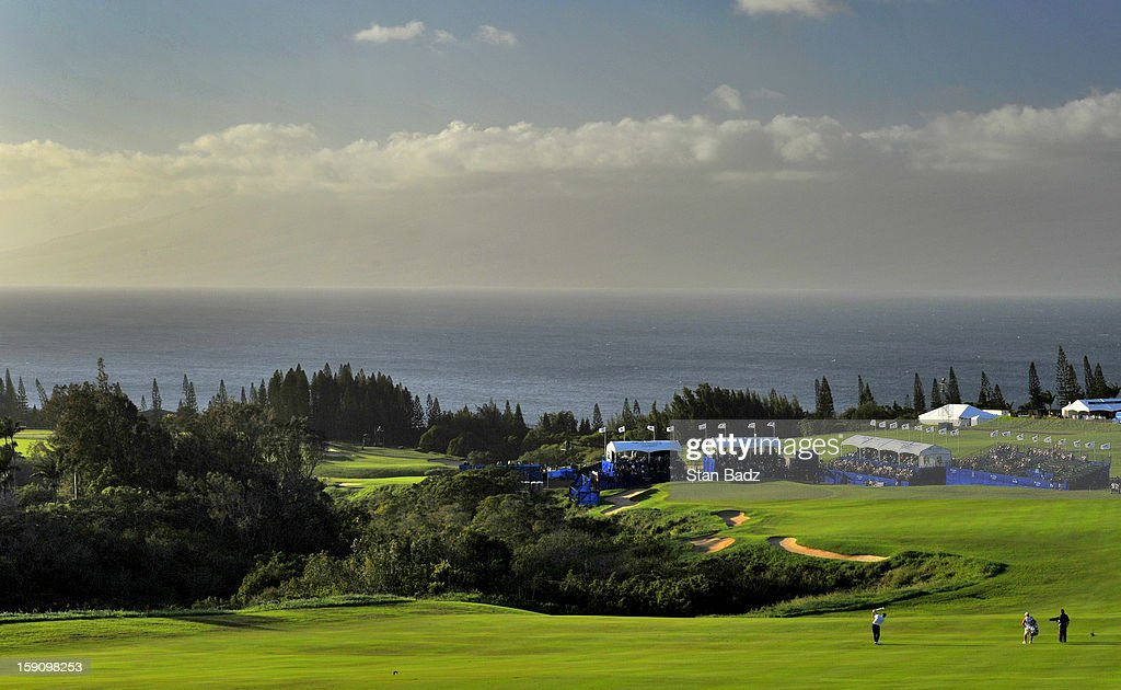 A course scenic shot of the 18th hole during the second round of the Hyundai Tournament of Champions at Plantation Course at Kapalua on January 7, 2013 in Kapalua, Maui, Hawaii.