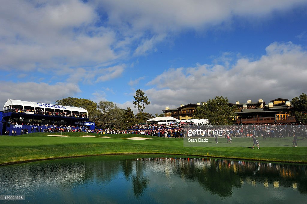 A course scenic shot of the 18th hole during the third round of the Farmers Insurance Open at Torrey Pines Golf Course on January 27, 2013 in La Jolla, California.