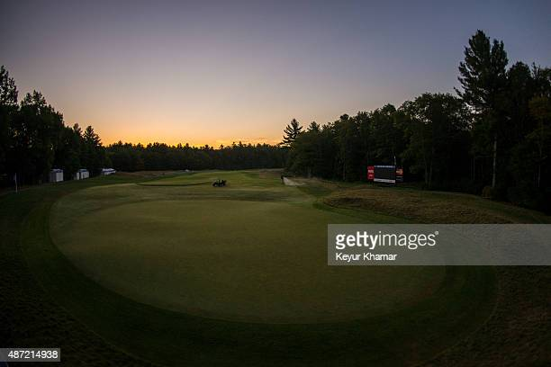 A course scenic view as the sun rises over the ninth hole green during the final round of the Deutsche Bank Championship at TPC Boston on September 7...