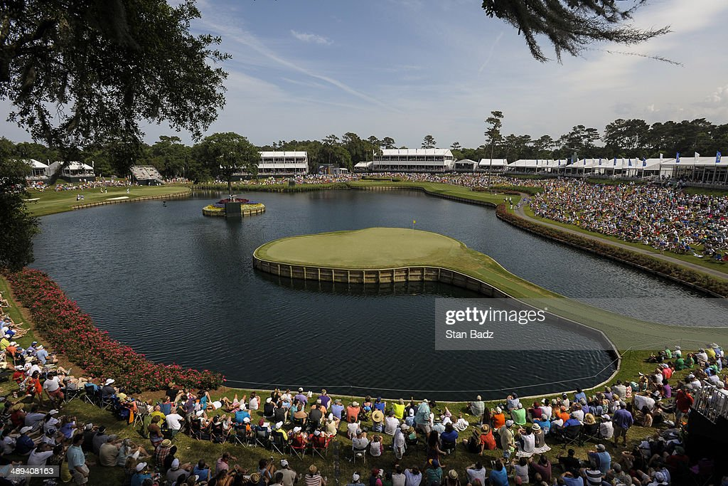 A course scenic view of fans watching the action on the 17th hole island green during the third round of THE PLAYERS Championship on THE PLAYERS Stadium Course at TPC Sawgrass on May 10, 2014 in Ponte Vedra Beach, Florida.