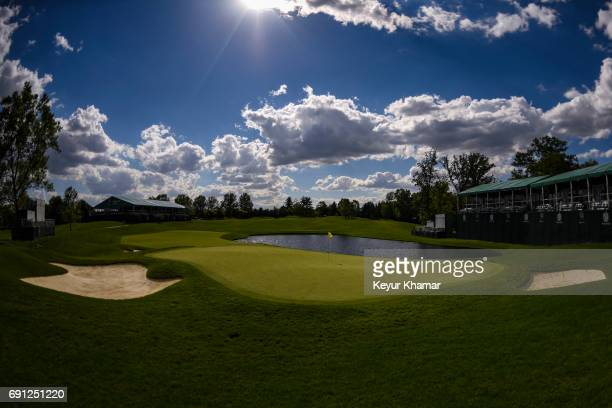 A course scenic view of the 17th hole green during practice for the Memorial Tournament presented by Nationwide at Muirfield Village Golf Club on May...