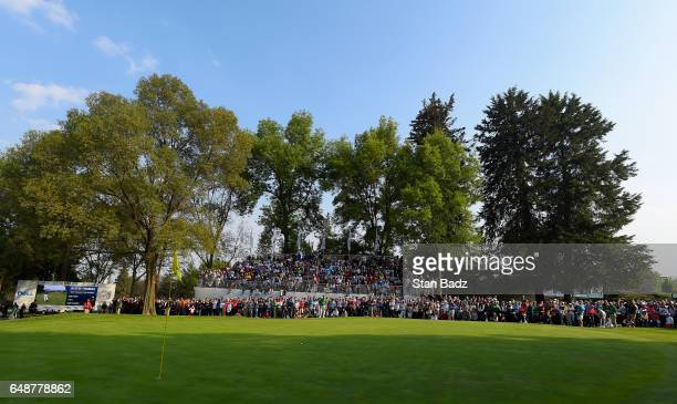 A course scenic view of the 18th hole during the final round of the World Golf ChampionshipsMexico Championship at Club de Golf Chapultepec on March...