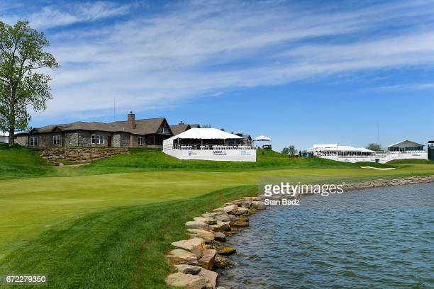 A course scenic view of the 18th hole during the final round of the Webcom Tour United Leasing Finance Championship at Victoria National Golf Club on...