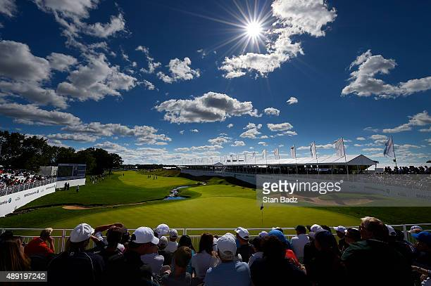 A course scenic view of the 18th hole during the third round of the BMW Championship at Conway Farms Golf Course on September 19 2015 in Lake Forest...