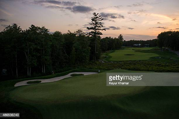 A course scenic view of the 18th hole green during the first round of the Deutsche Bank Championship at TPC Boston on September 4 2015 in Norton...