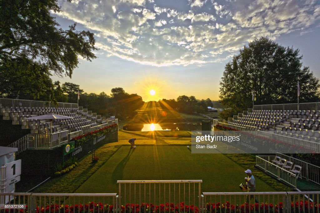 A course scenic view of the first hole at sunrise during the second round of the TOUR Championship, the final event of the FedExCup Playoffs, at East Lake Golf Club on September 22, 2017 in Atlanta, Georgia.