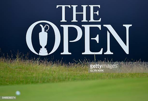 Course signage is pictured during practice on July 13 ahead of the 2016 British Open Golf Championship at Royal Troon in Scotland Treacherous and...