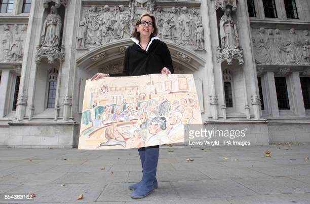 Court Artist Priscilla Coleman outside the Supreme Court where she had a brush with legal history today when she was allowed to sketch inside an...