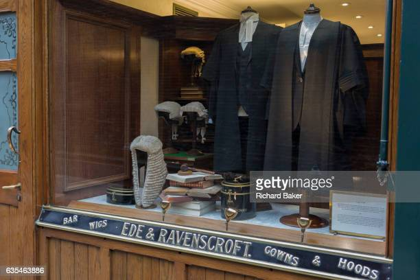 Court dress wigs and gowns for the legal profession in the window of Ede Ravenscroft on 15th February 2017 in London United Kingdom Ede Ravenscroft...