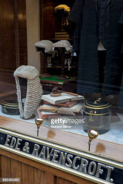 Court dress wigs for the legal profession in the window of Ede Ravenscroft on 15th February 2017 in London United Kingdom Ede Ravenscroft is thought...