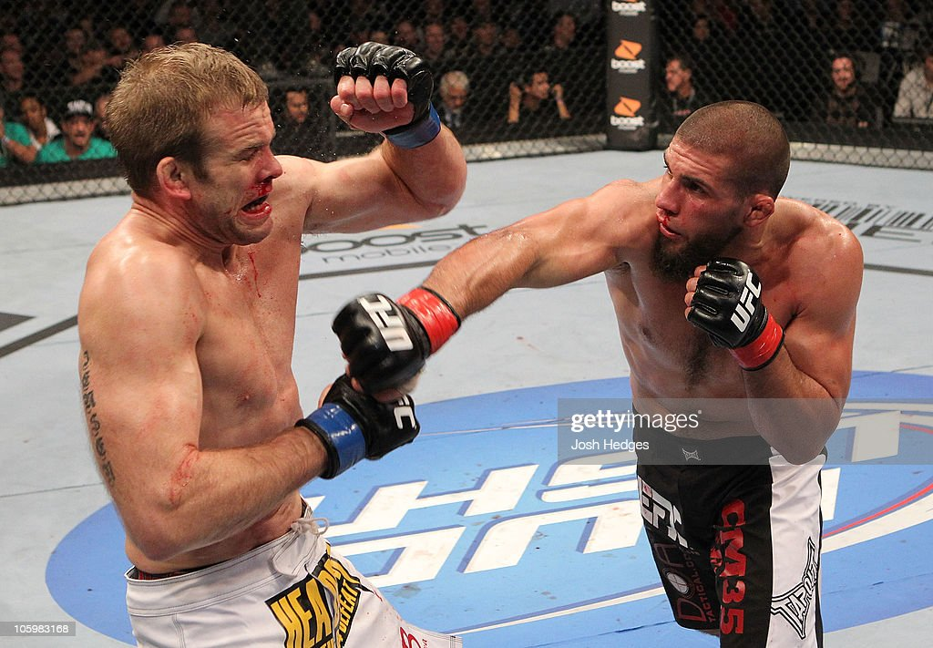 Court McGee connects with a right to the face of <a gi-track='captionPersonalityLinkClicked' href=/galleries/search?phrase=Ryan+Jensen&family=editorial&specificpeople=234524 ng-click='$event.stopPropagation()'>Ryan Jensen</a> during the welterweight bout during UFC 121 on October 23, 2010 in Anaheim, California.