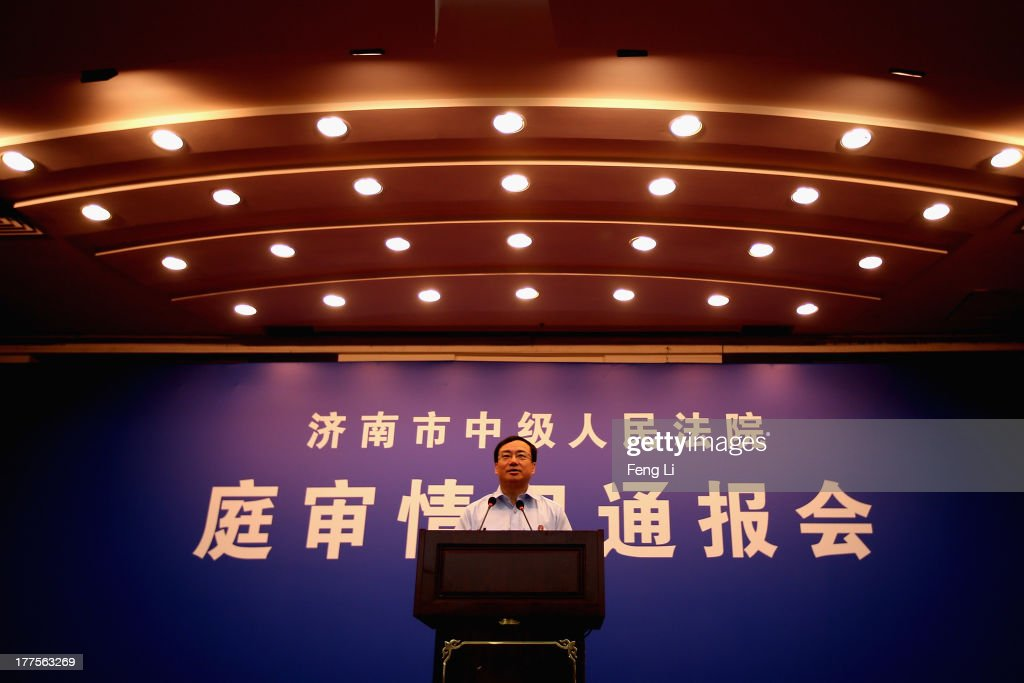 Court spokesman Liu Yanjie updates the media on the third day of the trial of disgraced politician Bo Xilai at Jinan Intermediate People's Court on August 24, 2013 in Jinan, China. Ousted Chinese politician Bo Xilai is standing trial on charges of bribery, corruption and abuse of power for a third day. Bo Xilai made global headlines last year when his wife Gu Kailai was charged and convicted of murdering British businessman Neil Heywood.