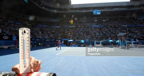 Court temperatures reach 44 degrees celsius as Andy Murray of Great Britain plays Kei Nishikori of Japan during a Men's Singles quarter final on day...