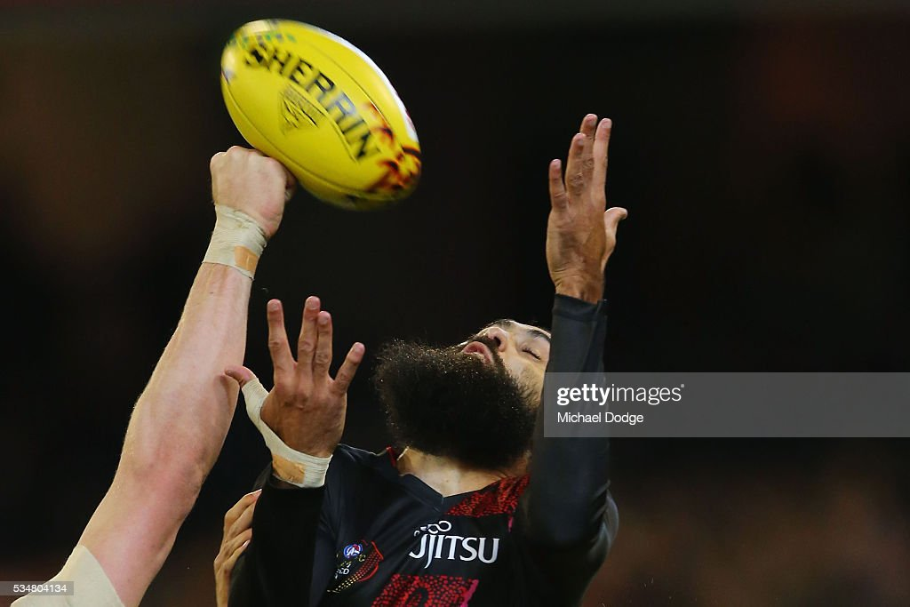 Courtenay Dempsey of the Bombers competes for the ball during the round 10 AFL match between the Essendon Bombers and the Richmond Tigers at Melbourne Cricket Ground on May 28, 2016 in Melbourne, Australia.