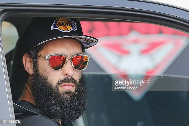 Courtenay Dempsey of the Bombers drives out of the locked out Essendon Football Club at Tullarmarine on January 12 2016 in Melbourne Australia The...