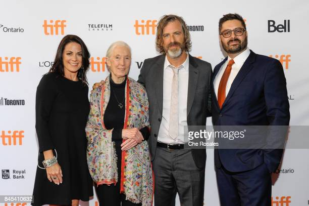 Courtenay Monroe Jane Goodal Brett Morgen and Tim Pastore arrive at Winter Garden Theatre on September 10 2017 in Toronto Canada