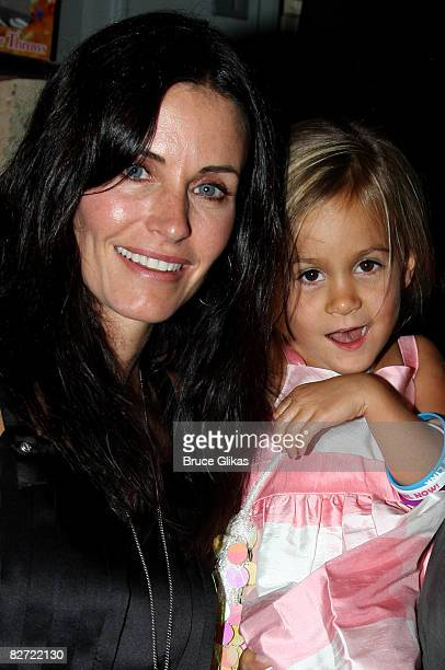 Courteney Cox and Daughter Coco Riley Arquette pose backstage at 'Hairspray' on Broadway at the Neil Simon Theatre on September 6 2008 in New York...