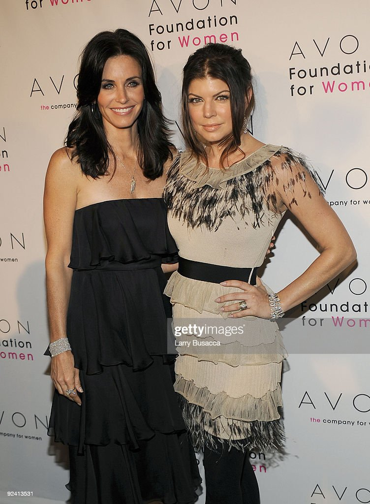 <a gi-track='captionPersonalityLinkClicked' href=/galleries/search?phrase=Courteney+Cox&family=editorial&specificpeople=203101 ng-click='$event.stopPropagation()'>Courteney Cox</a> and Fergie attend the Avon Foundation's 'Champions Who Change Women's Lives' celebration at Cipriani 42nd Street on October 27, 2009 in New York City.